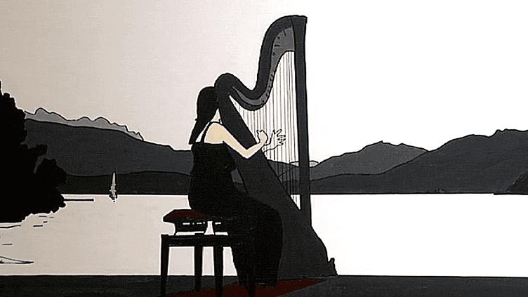 Une harpiste inspirée par le lac d'Annecy. Signé Montillo  (Pierre Montillo )