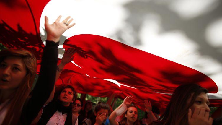 Les manifestants portent le drapeau turc et scandentdes slogans anti-gouvernement au parc Gezi, près de la place Taksim, à Istanbul (Turquie), le 3 juin 2013. (STOYAN NENOV / REUTERS)