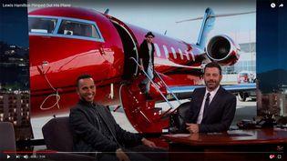 Le pilote de Formule 1 Lewis Hamilton invité du Jimmy Kimmel Live, le 15 décembre 2015, sur la chaîne de télévision américaine ABC. (CAPTURE VIDEO ABC / RADIO FRANCE)
