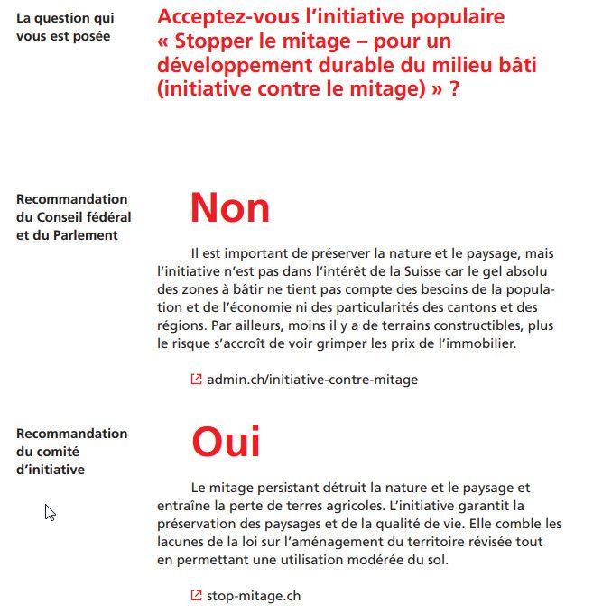 """Un extrait du livret consacré à la prochaine votation organisée en Suisse, le 10 février 2019, sur le """"mitage"""". (CONFEDERATION SUISSE)"""