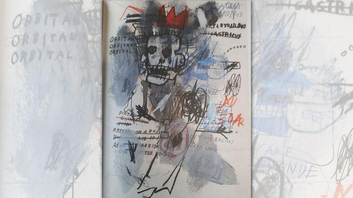 Un autre dessin soi-disant de Jean-Michel Basquiat, refusé lui aussi à la vente par Pierre Bergé & Associés en 2018, et exposé à Nuits-Saint-Georges en 2020. (Isabel Pasquier / Radio France)