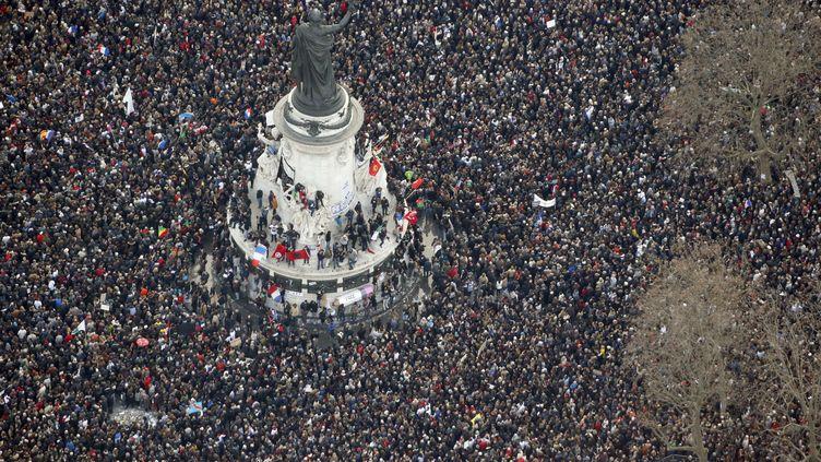 Place de la République, à Paris, le 11 janvier 2015. (KENZO TRIBOUILLARD / AFP)