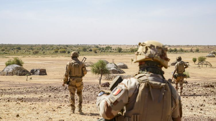 Une patrouille à pied de soldats francais de la force Barkhane, qui se dirigent vers un village dans le nord du Mali, le 16 janvier 2021.  (FREDERIC PETRY / HANS LUCAS)