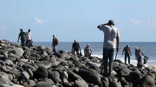 Plusieurs personnes cherchent des débris du MH370 sur une plage de Sainte-Marie, à La Réunion, le 10 août 2015. (RICHARD BOUHET / AFP)