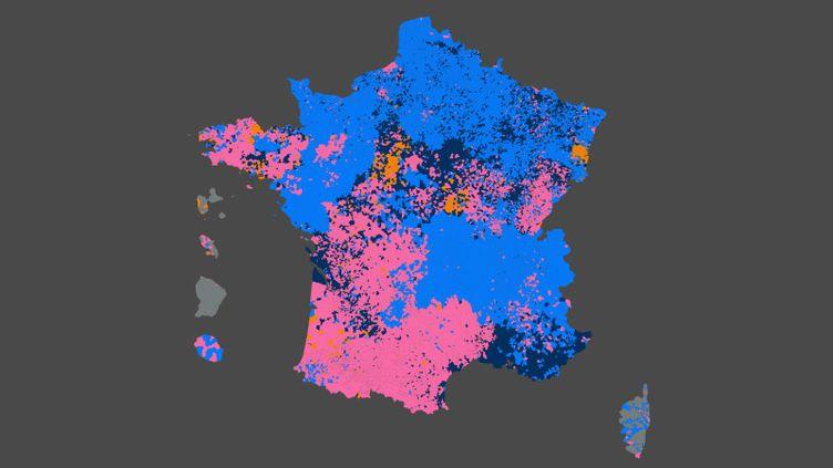 Carte de France des tendances politiques arrivées en tête au premier tour des élections régionales 2021 (FRANCEINFO)