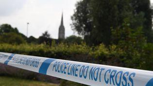 Un ruban de la police entourant les jardins de la Reine Elizabeth à Salisbury, dans le sud de l'Angleterre, le 5 juillet 2018, en lien avec l'enquête après qu'un homme et une femme aient été retrouvés inconscients ce qui a été identifié plus tard comme l'agent nerveux Novichok. (CHRIS J RATCLIFFE / AFP)
