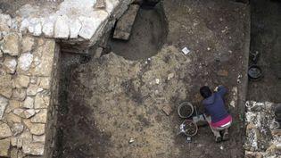 Les fouilles parisiennes sur l'île de la Cité  (JOEL SAGET / AFP)