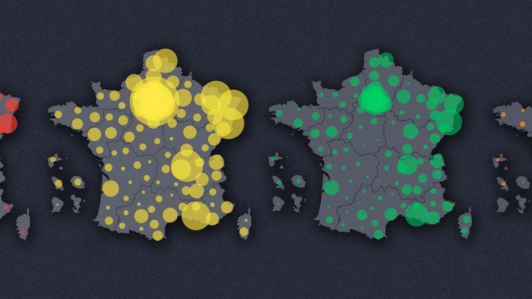 Quatre cartes animées pour suivre l'évolution de l'épidémie de coronavirus en France. (FRANCEINFO)