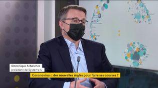 Dominique Schelcher, président de Système U, invité éco de franceinfo mercredi 27 janvier 2021. (FRANCEINFO)