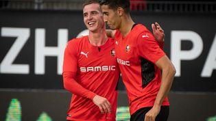 Nayef Aguerd a ouvert le score lors du barrage aller de Ligue Europa conférence opposant Rennes à Rosenborg, le 19 août 2021. (LOIC VENANCE / AFP)