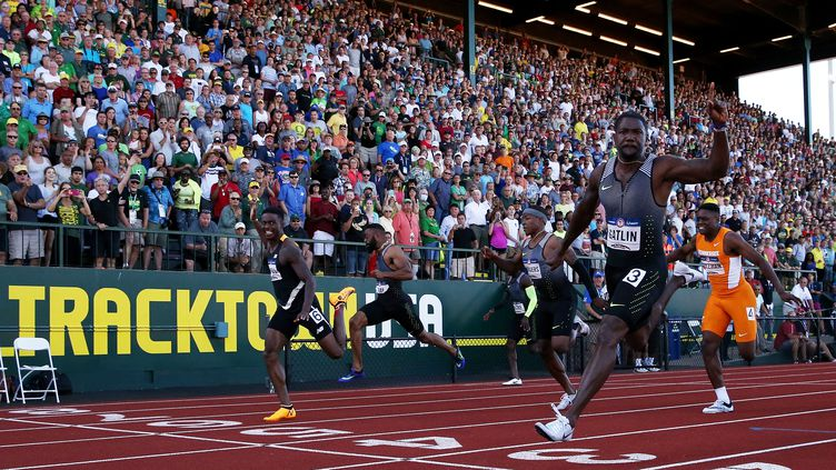 Le sprinteur américain Justin Gatlin (ANDY LYONS / GETTY IMAGES NORTH AMERICA)