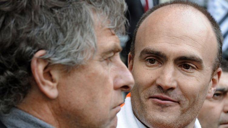 Christian Gourcuff et Loïc Féry, les deux hommes forts du FC Lorient (DAMIEN MEYER / AFP)