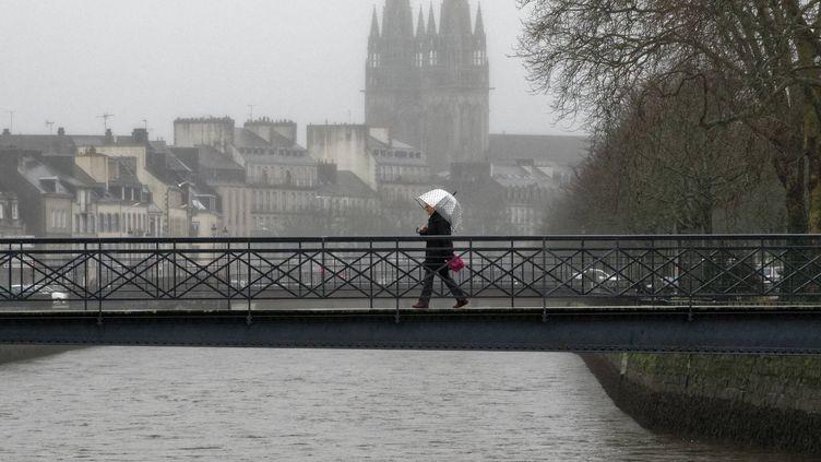Quimper (Finistère) sous la pluie, le 21 janvier 2020. (MAXPPP)