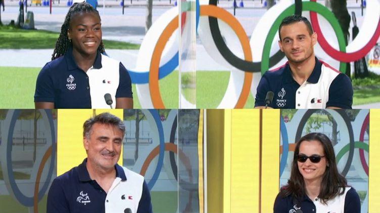 Les porte-drapeaux françaispour les Jeux olympiques et paralympiquessur le plateau de France 2. (CAPTURE ECRAN FRANCE 2)