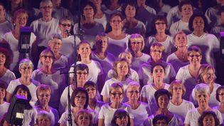 850 choristes accompagnent Maxime Le Forestierau Festival des Nuits de Champagne (2012)  (PHOTOPQR-L'EST-ECLAIR-JEROME BRULEY )