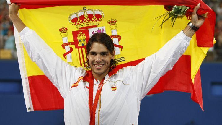 Rafael Nadal lors de son titre olympique, en 2008. (BEHROUZ MEHRI / AFP)