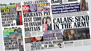 Unes anti-migrants de tabloïds britanniques (Capture d'écran de tabloïds britanniques)