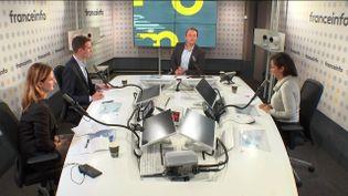 Le plateau des informés du matin du 21 octobre 2021 : Nathalie Mauret, Jean-Baptiste Marteau, Marc Fauvelle et Neïla Latrous (G à D). (FRANCEINFO / RADIO FRANCE)