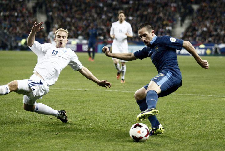 Franck Ribéry, buteur lors de la dernière confrontation avec la Finlande en 2013. (MATTHIEU DE MARTIGNAC / MAXPPP)
