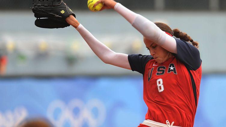 Jeux Olympiques de Pékin, le 13 août 2008. L'américaine Cat Osterman durant lesmatchs préliminaires(femmes) de softball entre l'Australie et les Etats-unis. (MAXPPP)