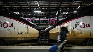 Une passagère sur le quai de la gare de l'Est à Paris, le 23 décembre 2019. Photo d'illustration. (STEPHANE DE SAKUTIN / AFP)