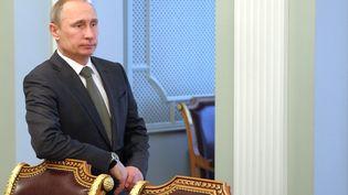Vladimir Poutine avant une rencontre avec des ministres européens concernant la crise ukrainienne, le 21 février. (ALEXEY DRUZHININ / RIA-NOVOSTI / AFP)