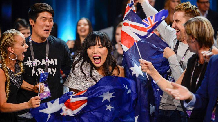 La représentante australienne à l'Eurovision 2016, Dami Im, lors de la deuxième demi-finale du concours, à Stockholm (Suède), le 12 mai 2016. (MAJA SUSLIN/TT / TT NEWS AGENCY / AFP)