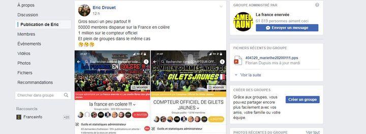 Eric Drouet dénonce sur la page Facebook de la France en colère une perte de membres. (LA FRANCE EN COLERE / FACEBOOK)