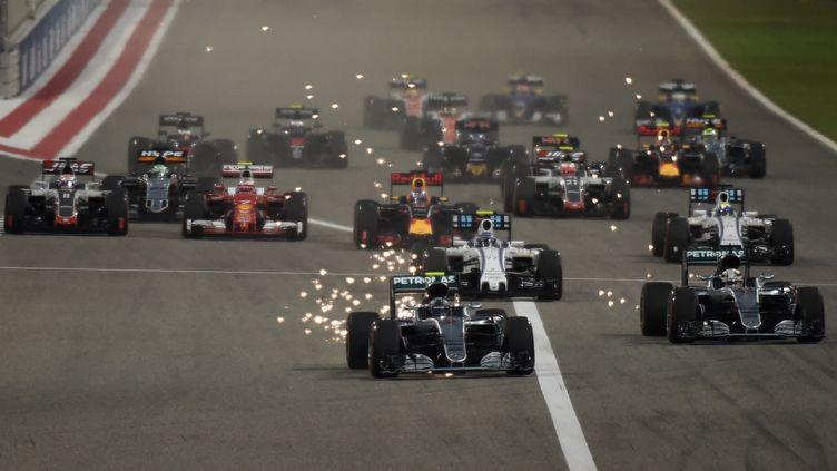 La Mercedes de Nico Rosberg, au départ du Grand Prix du Bahreim 2016. (MOHAMMED AL-SHAIKH / AFP)