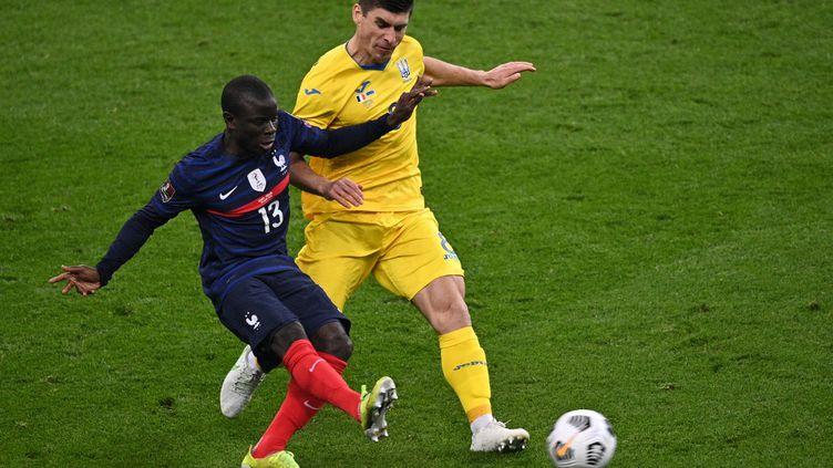 Le Français s'est blessé à la cuisse lors du match face à l'Ukraine, le 24 mars 2021. (ANNE-CHRISTINE POUJOULAT / AFP)