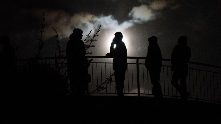 Des habitants de Wellington sont montés en haut du mont Victoria (Nouvelle-Zélande), dans la nuit de dimanche à lundi 14 novembre 2016. (MARTY MELVILLE / AFP)