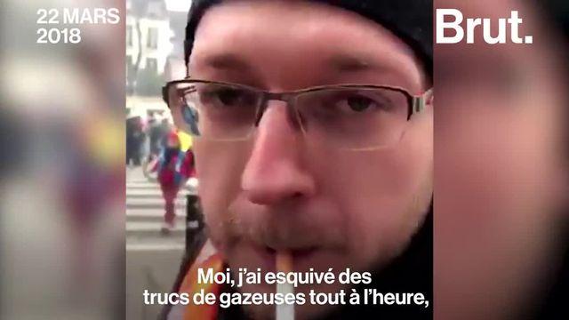 Lors des manifestations du jeudi 22 mars à Paris, un jeune cheminot explique que le gouvernement devrait accorder les mêmes avantages à tout le monde, au lieu de supprimer le statut des cheminots.