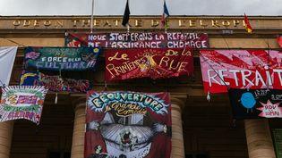 Le théâtre de l'Odéon occupé par des intermittents, à Paris, le 19 mai 2021. (MATHIEU MENARD / HANS LUCAS / AFP)