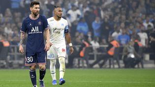 Ni Lionel Messini Dimitri Payet n'ont réussi à inscrire un but lors du match entre l'Olympique de Marseille et le Paris Saint-Germain, le 24 octobre 2021 au Vélodrome. (NICOLAS TUCAT / AFP)