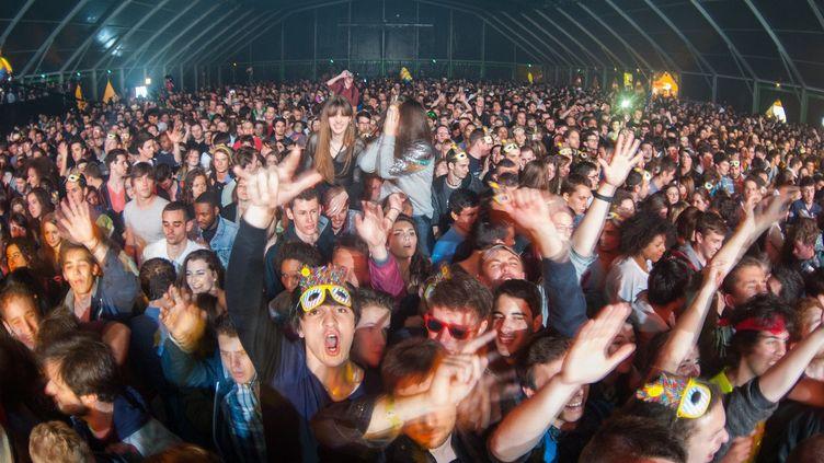 Spectateurs enthousiastes du concert de l'artiste electro-rock Kavinsky le 26 avril.  (GUILLAUME SOUVANT / AFP)