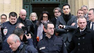 Françoise Bettencourt-Meyers, la fille de Lilian Bettencourt, le 26 janvier 2015, à l'ouverture du procès de l'affaire Bettencourt à Bordeaux. (NICOLAS TUCAT / AFP)