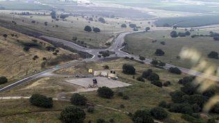 Une base de défense israélienne, conçue pour intercerpter des missiles, sur le plateau du Golan, le 9 mai 2018 (JALAA MAREY / AFP)