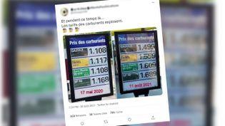 Capture écran d'un tweet qui dénonce le prix du carburant. (CAPTURE ECRAN)