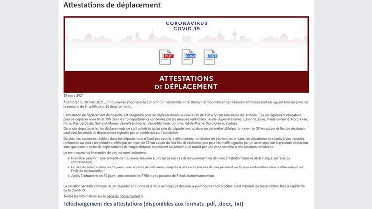 Capture d'écran de la page du site du ministère de l'Intérieur sur laquelle sont disponibles les attestations de déplacement au couvre-feu et au confinement. (INTERIEUR.GOUV.FR)