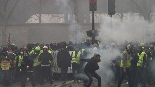 Des manifestants font face aux forces de l'ordre à Paris, le 19 janvier 2019. (VALERY HACHE / AFP)