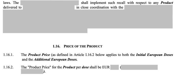 Extrait du contrat expurgé signé parCurevacavec la Commission Européenne (FRANCEINFO / RADIOFRANCE)