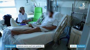 Un policier de 34 ans, victime d'une agression à Lyon alors qu'il se trouvait en civil près de son domicile, interviewé sur son lit d'hôpital le 18 juin 2020. (FRANCE 3)