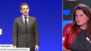 Pour réagir à la condamnation de Nicolas Sarkozy dans l'affaire Bygmalion, jeudi 30 septembre, les équipes de France Télévisons invitent Élise Van Beneden, présidente de l'association Anticor. (CAPTURE ECRAN / FRANCEINFO)