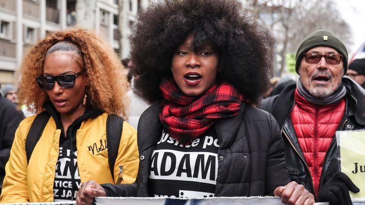 Assa Traoré, soeur d'Adama Traoré, le 2 février 2019. (ZAKARIA ABDELKAFI / AFP)