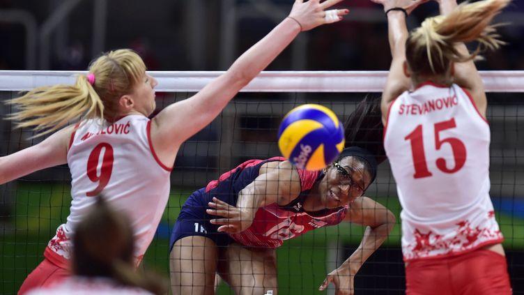 Jeux de Rio de Janeiro, 18 août 2016. Demi-finale femmes. La Serbie l'emporte 3-2 contre les Etats-Unis (MAXPPP)