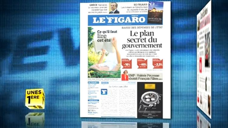 """A la une du """"Figaro"""", le """"plan secret"""" de réduction d'effectifs des fonctionnaires, le 21 juin 2012. (FTVI)"""