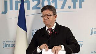 Le candidat de la France insoumise, Jean-Luc Mélenchon, le 23 avril 2017, à Paris, au soir du premier tour de l'élection présidentielle. (BERTRAND GUAY / AFP)