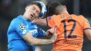 Jordan Ferri et les Lyonnais ont été tenus en échec, mardi 23 octobre, face à Hoffenheim. (DANIEL ROLAND / AFP)