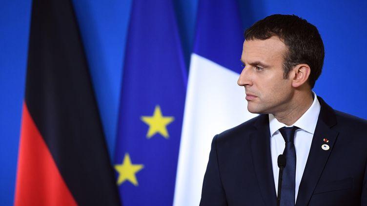 Emmanunel Macron, à Bruxelles (Belgique) le 23 juin 2017. (EMMANUEL DUNAND / AFP)