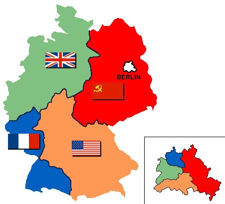 Les quatres zones d'occupation alliée en Allemagne. La zone soviétique devient la RDA tandis que les autres zones fusionnent pour former la RFA.